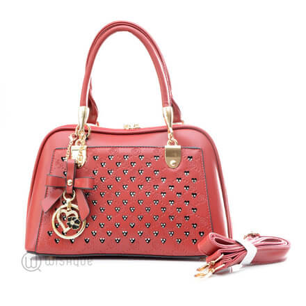 Floral Red Leather Stones Handbag