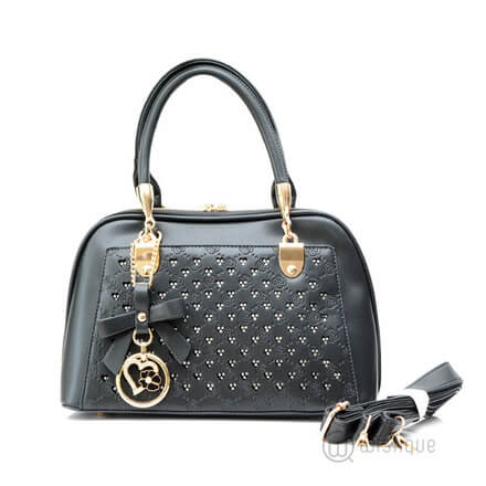 Floral Black Leather Stones Handbag