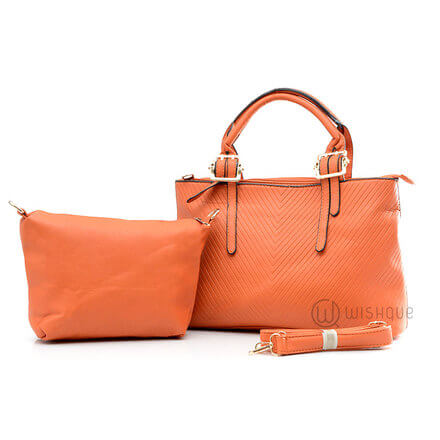 Bibigi Orange Leather Pair Handbag