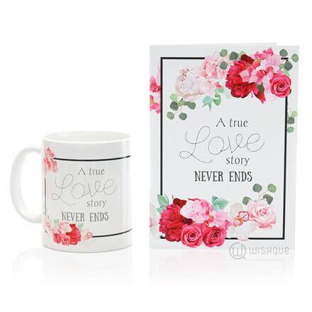 True Love Story Printed Mug & Greeting Card