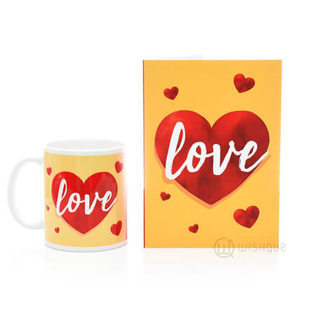 Love Heart Greeting Card & Printed Mug