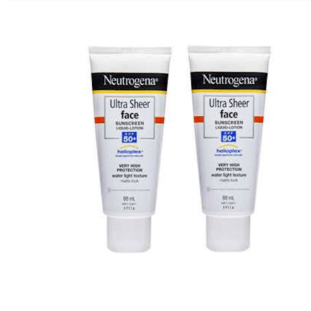 Neutrogena Ultra Sheer Face Lotion Spf 50+ Sunscreen 88Ml 2 Pack