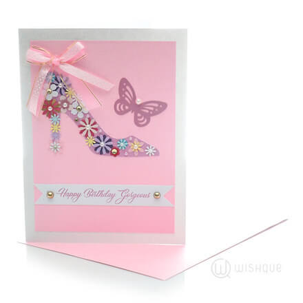 Blush Girl's Floral Shoe Birthday Card