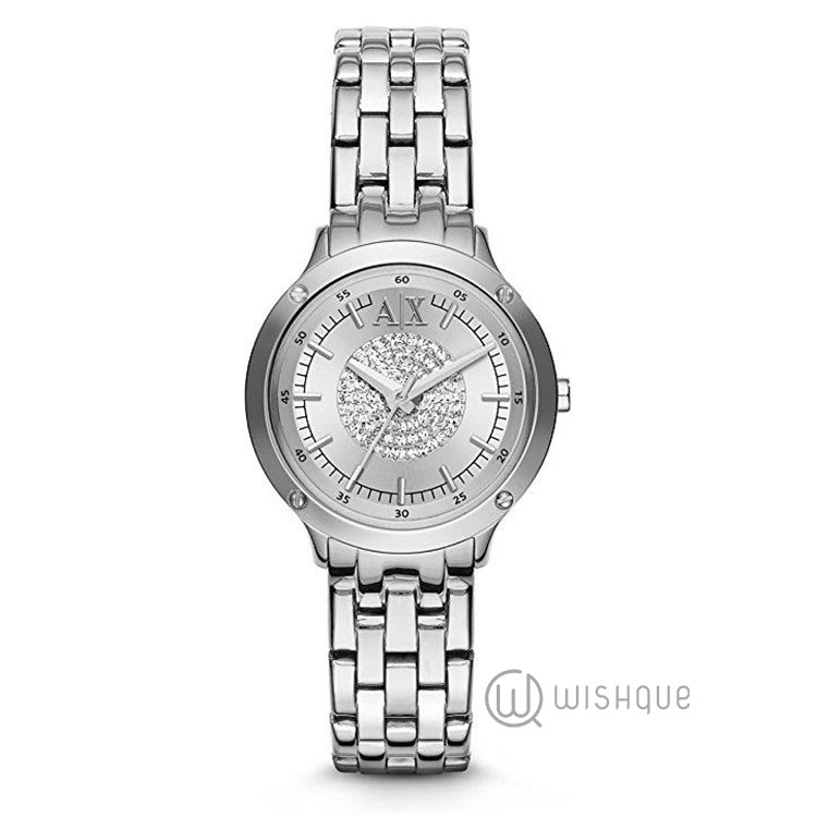 Armani Exchange Ladies Stone Set Silver Bracelet Dress AX5415 Watch