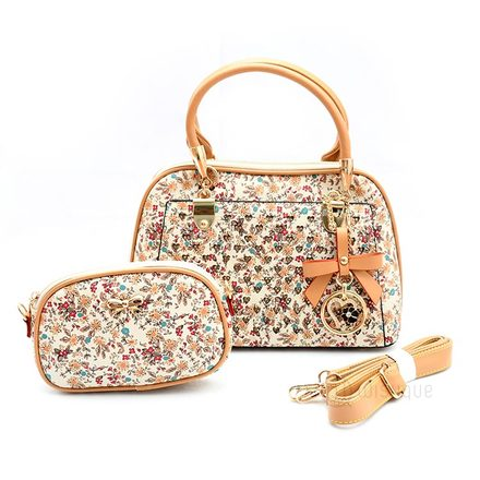 Floral Yellow Leather Stones Handbag Collection