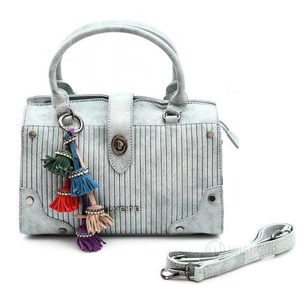 Buckle Front Grey Leather Handbag