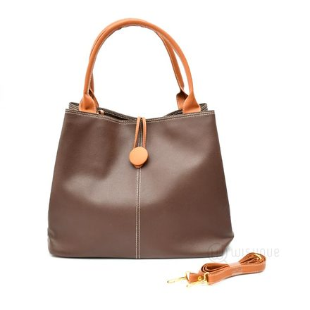 Button Up Imported Handbag - Brown