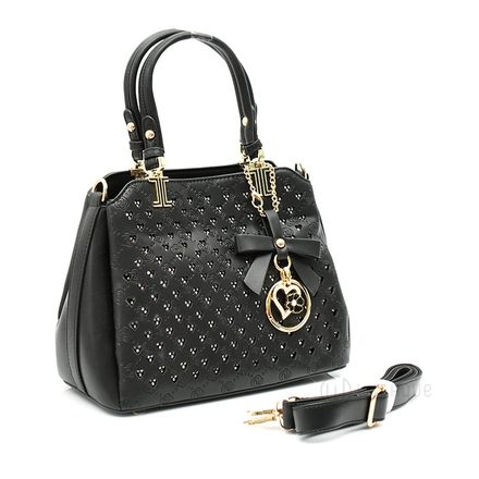 Floral Black Leather Stones Handbag Design 02