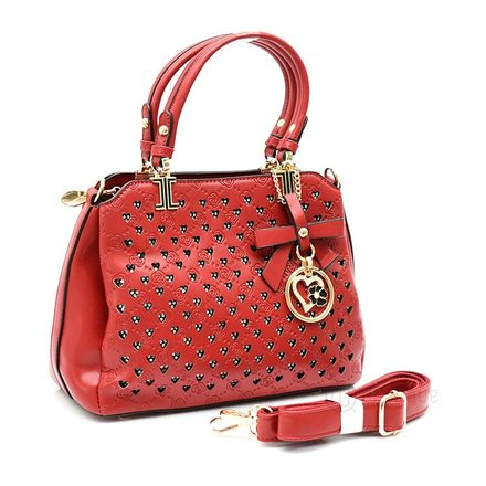 Floral Red Leather Stones Handbag Design 02