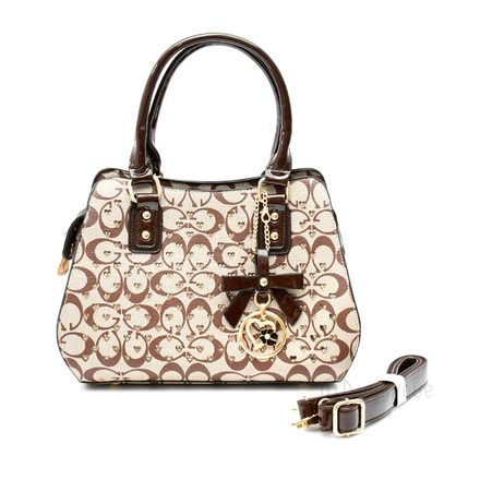 Floral Brown Leather Stones Handbag Design 02