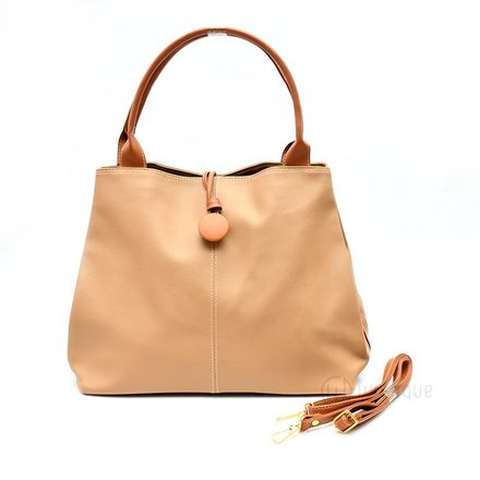 Button Up Imported Handbag - Cream