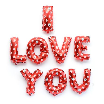 I LOVE YOU Letters Balloons in Red