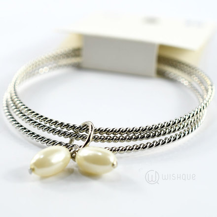 Bangle With Pearls (Silver)