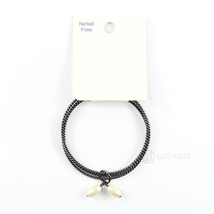 Bangle With Pearls (Black)