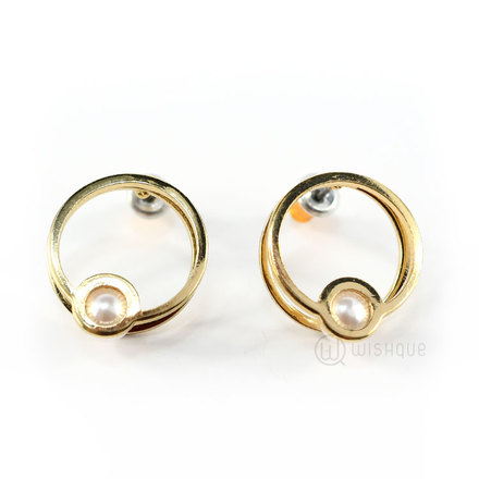 Earrings With A Pearl (Gold)