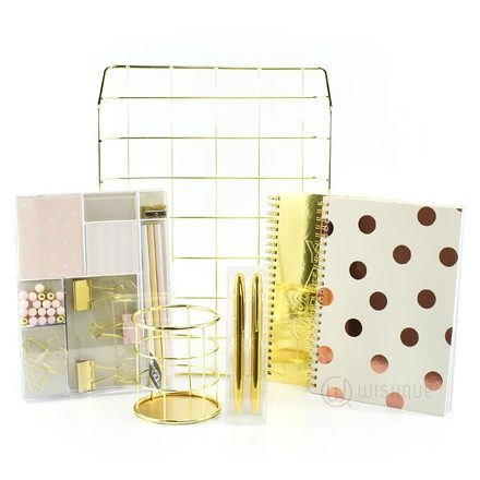 Stylish Gold Desk Stationery Pack