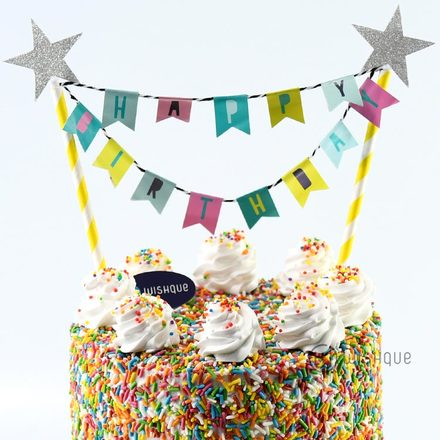 Flag Cake Topper - Happy Birthday