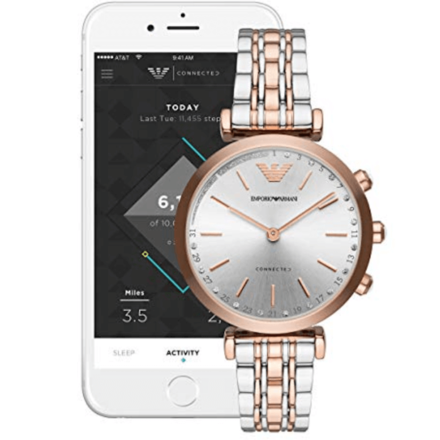 EMPORIO ARMANI Women's Gianni T-Bar Two Tone Hybrid Smartwatch