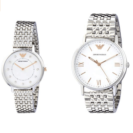 EMPORIO ARMANI AR80014 Analog-Digital Quartz Silver Band Couple Watch Set