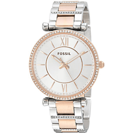 FOSSIL Women ES4342 Carlie Three-Hand Two-Tone Stainless Steel Watch