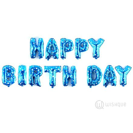 HAPPY BIRTHDAY Letters Blue Stars Balloons Pack