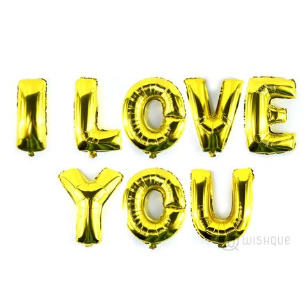 I LOVE YOU Letters Balloon Pack In Gold