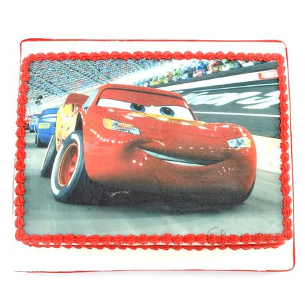 Custom Edible Print Cake - Lightning McQueen