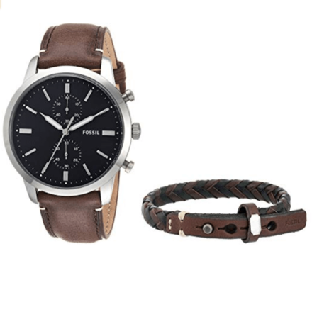 Fossil Townsman Dark Brown Stainless Steel & Leather Watch