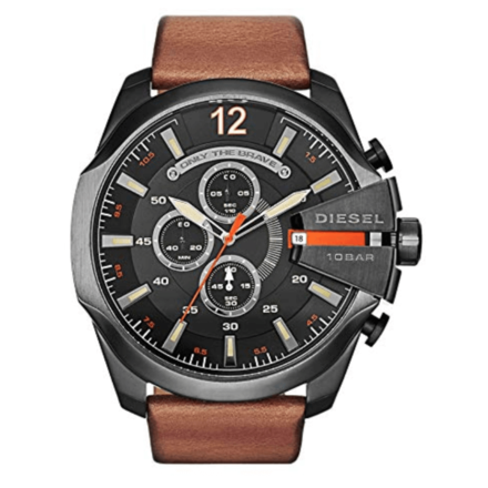 Diesel Mega Chief Gunmetal Brown Leather Watch