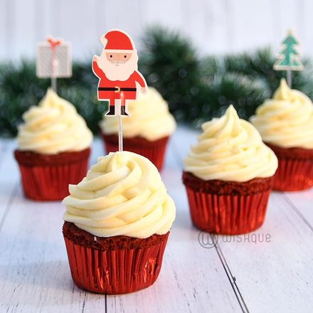 Red Velvet Christmas Cupcake 6 Pack with Santa Tags