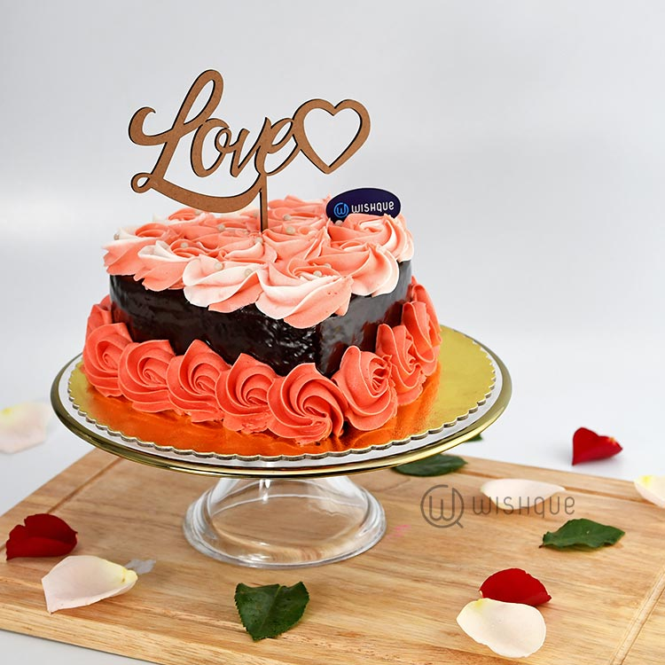 Rose Heart Chocolate Cake