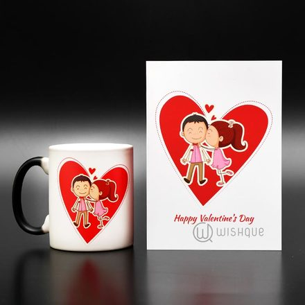 Happy Valentines Kiss Magic Mug With Greeting Card