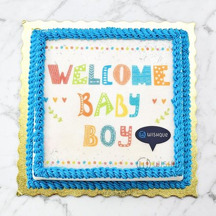Welcome Baby Boy Edible Print Cake 1kg
