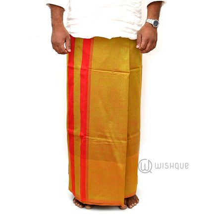 Turmeric Yellow With Orange Stripes Handloom Sarong