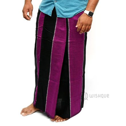 Purple With Black Stripes Handloom Sarong