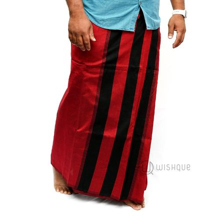 Maroon With Black Stripes Handloom Sarong