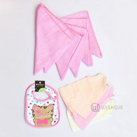 3Pcs B shirt , Nappy 19BP 6Pcs , Cloth Bib