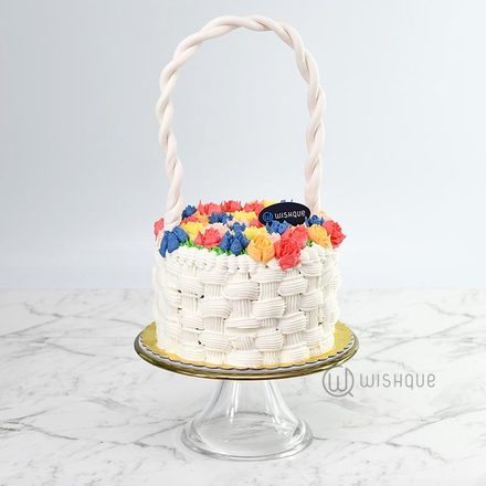 Basket Of Tulips Ribbon Cake