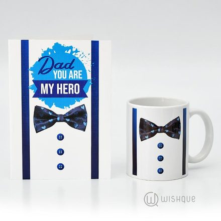 Dad You're My Hero Greeting Card & Printed Mug