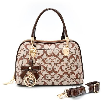 Floral Medium-Brown Leather Stones Handbag