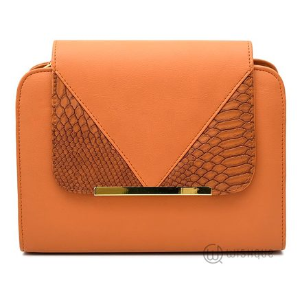 Snakeskin Flip Dome Orange Bag