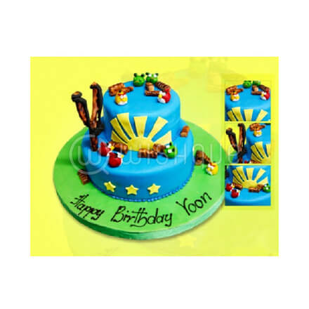 Angry Birds Two Tier Cake with Marzipan Figures