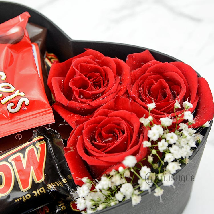 Chocolates & Roses Heart Box