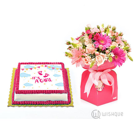 Baby Girl Pink Blossoms and Edible Print Cake Gift Set
