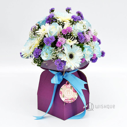 Blue Blossoms Flower Bucket