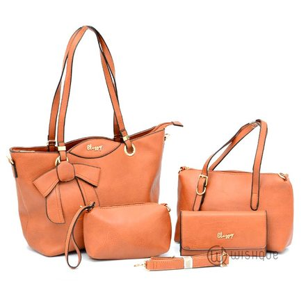 Classy Double Handle With A Bow Tote Bag Collection-Caramel Brown