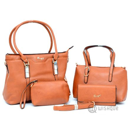 Classic Double Handle Tote Bag Collection-Caramel Brown