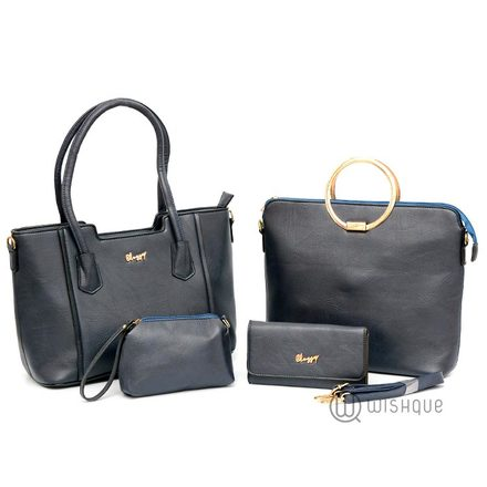 Luxury Double Handle With A Metal Clutch Tote Bag Collection-Dark Blue