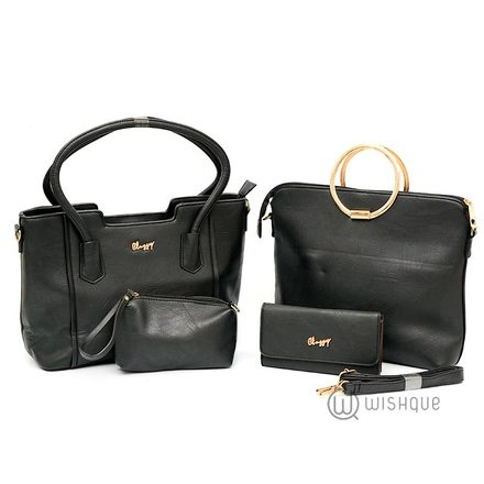 Luxury Double Handle With A Metal Clutch Tote Bag Collection-Black
