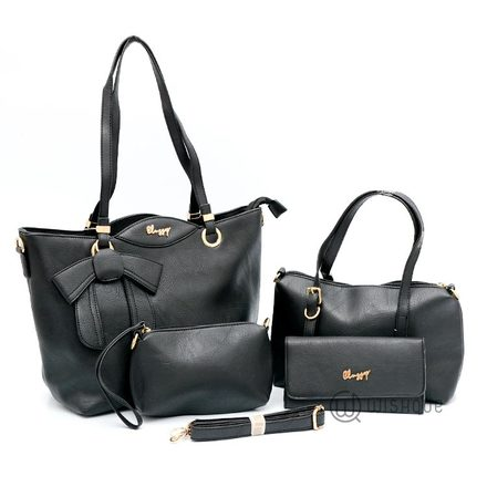 Classy Double Handle With A Bow Tote Bag Collection-Black